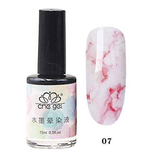 Shirazawa Nail Polish Gel 15 ML Watercolor Ink Liquid Effect Marble Gradient Manicure Women Smudge Marbled Water Dye Extension Glue No-Clean sealant Nail Sticker Nail Sequins Nail Glitter