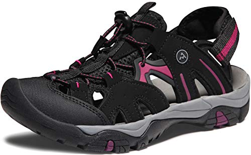 ATIKA Women's Sports Sandals Trail Outdoor Water Shoes 3Layer Toecap, Rocky(w221) - Black & Violet, 7