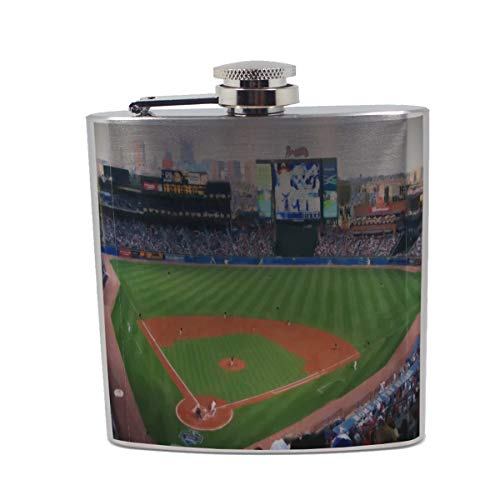 Atlanta Baseball Painting - 6 oz. Stainless Steel Liquor Flask Baseball 6 Ounce Flask