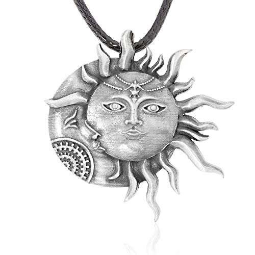 Namaste Jewelers Meditative Zen Sun Moon Face Pendant Necklace Pewter Jewelry ()