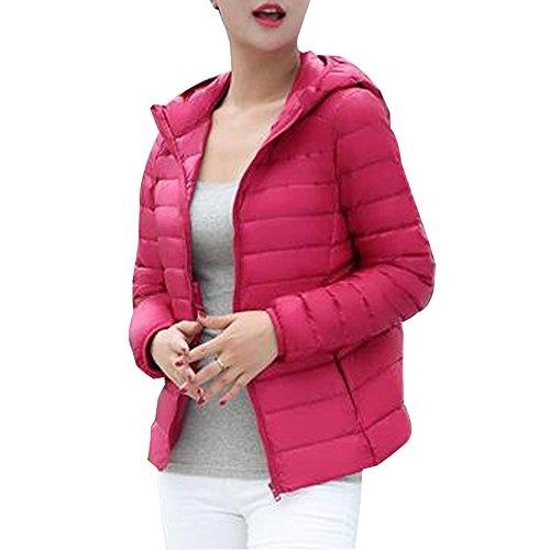 BOZEVON Women's Hooded Packable Ultra Lightweight Short Down Jacket Coat Rose Red