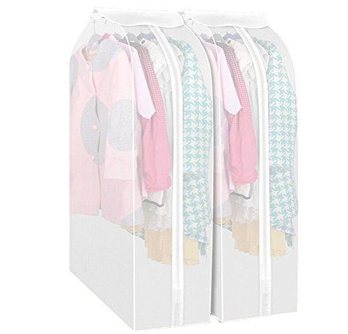 Kleiderschutzhülle Transparent Set mit 2 Staubschutz Anzug Mantel mit Reißverschluss Kleidung Lagerung Hängetasche