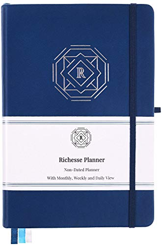 Richesse Planner - Daily Planner to Boost Productivity, Time Management & Happiness and Achieve Goals - Daily Weekly Monthly Planner with Gratitude Journal - Undated, Hardcover, A5 Size