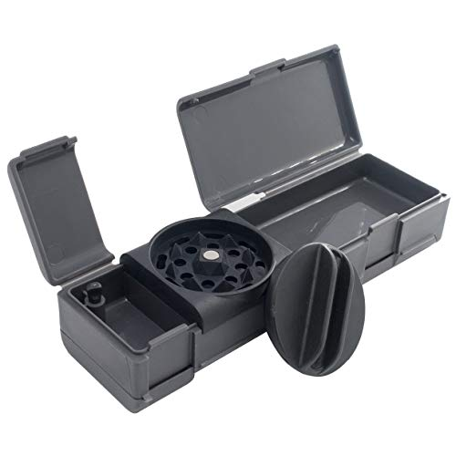NEW COLECTION Combie Grind & Roll - Tobacco Grinder, Rolling Paper W ips & Storage all in one revolutionary tool made of fiber reinforced plastic (Grey)