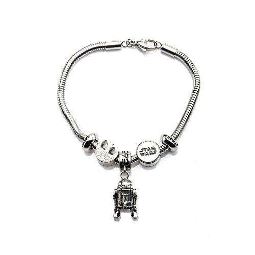 Disney Star Wars Stainless Steel R2D2, Rebel Symbol and Star Wars Logo Charm Bracelet
