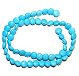 "Puffed Round Lentil Coin Magnesite Gemstone Beads 16"" Blue Turquoise 8mm AG01"