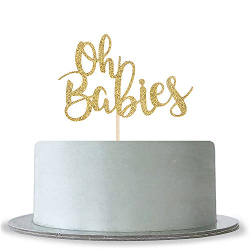 Gold Glitter Oh Babies Cake Topper for Twins