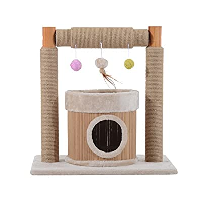 """PawHut 24.8"""" Cat Scratching Tree Bamboo Condo Furniture Pet Scratcher House with Toys Beige"""