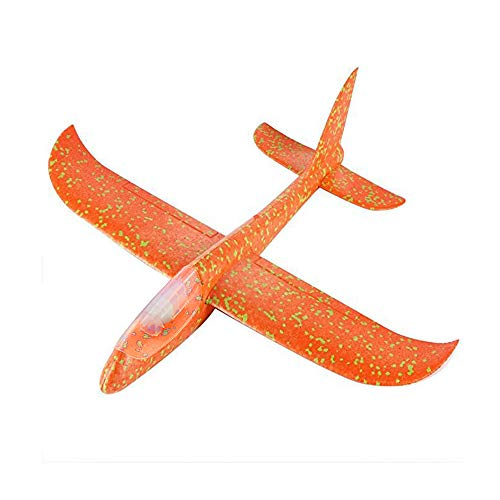 (AZX Kids Airplane Toy Hand Launch Glider Planes Throwing Fun Inertia Aircraft Toy Play Model Outdoor Sport Flying Toy (LED Orange with)
