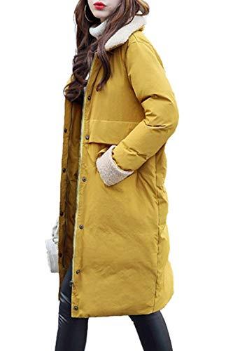 Giubotto Qualità Colori Manica Invernali Outwear Baggy Cappotti Tasche Giallo Solidi Di Abbigliamento Trapuntata Single Anteriori Alta Donna Bavero Giacca Targogo Breasted Lunga OqWPwHAH