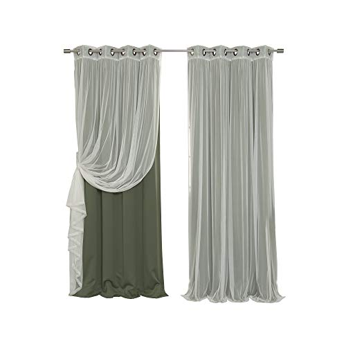Best Home Fashion Mix and Match Tulle Sheer Lace & Blackout Curtain Set - Antique Bronze Grommet Top - Moss - 52