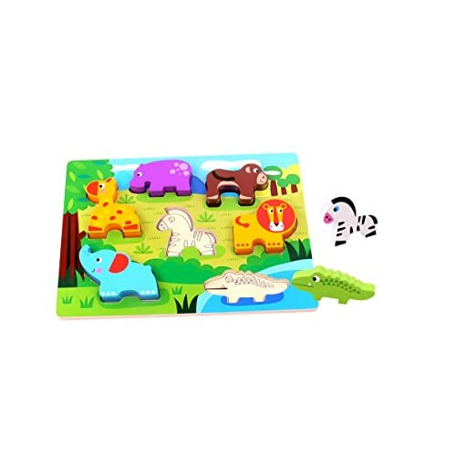 Finduq Wooden Puzzle Animal Chunky Puzzle For Toddlers 1 Year Old