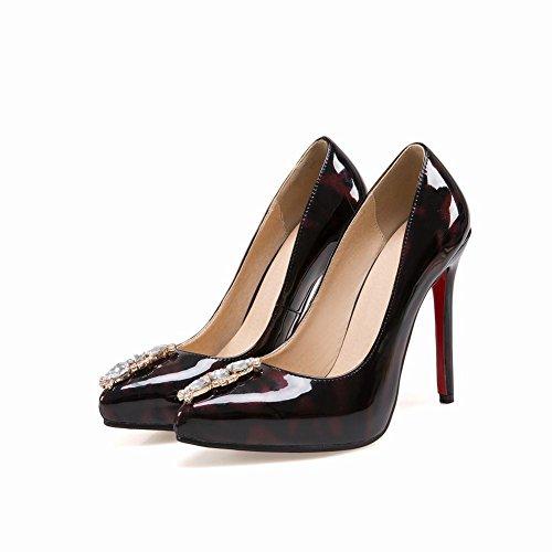 Rhinestones red Pointed toe Womens Stiletto Claret High Latasa Heels R5w86qw
