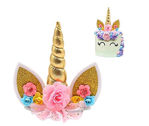 Gold Unicorn Birthday Cake Toppers set. Unicorn Horn, Ears and flowers Set. Unicorn Party Decoration for baby shower,wedding and birthday party ()