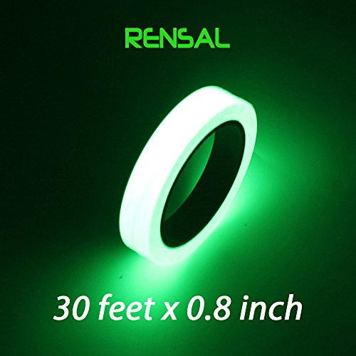 "RENSAL New High Luminance Glow in the Dark Photoluminescent Tape Sticker 30' Length x 0.8"" Width, Glow Tape, Luminous Tape, Waterproof, Removable"