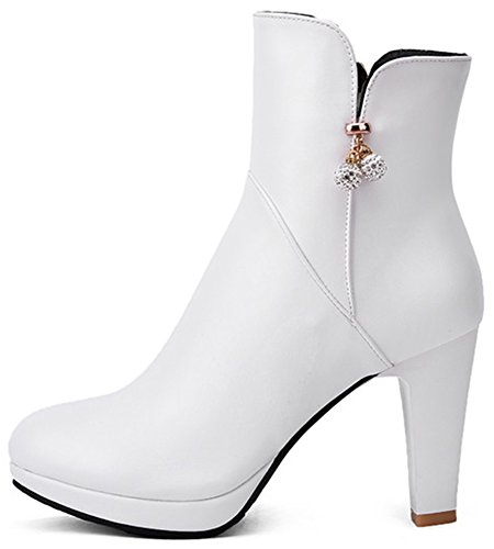 Summerwhisper Women's Sexy Rhinestone Beads Round Toe Booties Side Zipper Chunky High Heel Platform Ankle Boots White 5 B(M) US