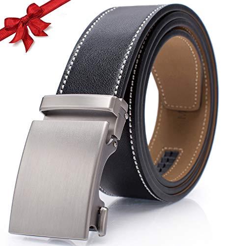 Ratchet Belts for Men Leather Holeless Slide Buckle Adjustable Casual Belt with Gift Box (Leather Casual Slides)