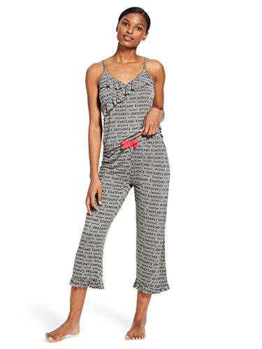 bebe Womens 2 Piece Sleeveless V-Neck Top Capri Pants Pajama Lounge Set Charcoal Heather Small