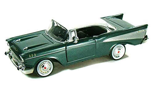 NEW 1:24 DISPLAY MOTOR MAX AMERICAN CLASSICS - GREEN 1957 CHEVROLET BEL AIR HARD TOP Diecast Model Car By Motor Max ()