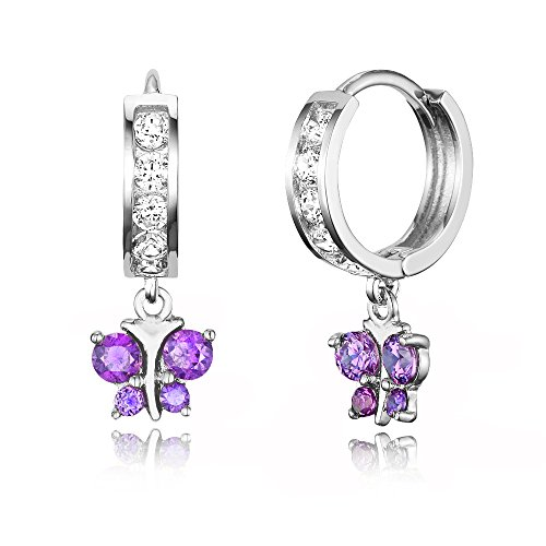 Rhodium Butterfly Earrings - 925 Sterling Silver Rhodium Plated Channel CZ Butterfly Baby Girl Hoop Huggie Earrings