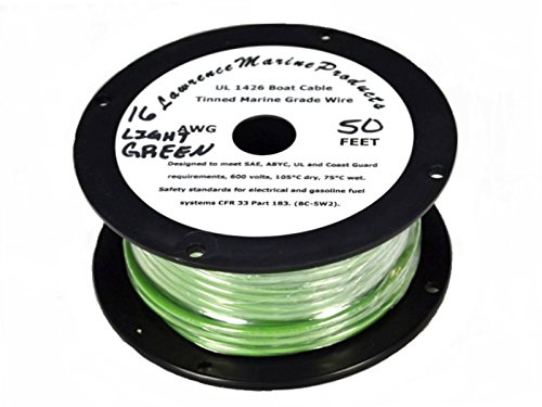16 AWG Tinned Marine Primary Wire, Light Green, 50 - Round Green 187
