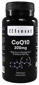 Coenzima Q10 200mg, 120 Cápsulas   Máxima Absorción y Biodisponibilidad   100% Natural CoQ10, No GMO, Sin Gluten