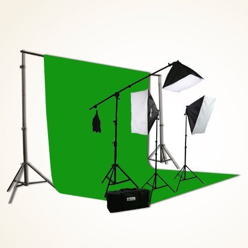 ePhoto H9004SB-1012G ChromaKey Green Screen Video Photography Boom Stand Lighting Background Support Kit by ePhoto