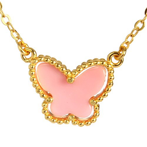 (Bonnie Fashion Charms Pendant Necklace Made with Pink Shell S925 Silver Real Gold Plated Chain for Women and Girls (Butterfly))