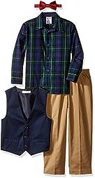IZOD Kids Little Boys\' Toddler Solid Twill Vest Set, Flag Blue, 4T