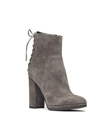 PoiLei Fiona - chaussure femme / élégantes bottines en cuir gris-taupe à talon haut epais - bout rond et detail