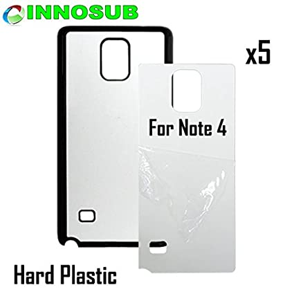 5x innosub Sublimation Blank Cases For Samsung Galaxy Note  4-Plastic-Black-Blank Dye Case+inserts for dye Sublimation phone  cover/Blank Printable