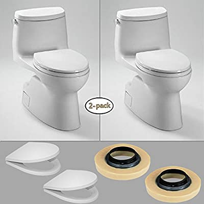 TOTO 2 x Carlyle II One-Piece Toilets (1.28 GPF), Elongated Bowl with 2 Wax Rings & 2 Toilet Seats