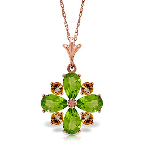 ALARRI 2.43 CTW 14K Solid Rose Gold Summer Peridot Citrine Necklace with 22 Inch Chain Length by ALARRI