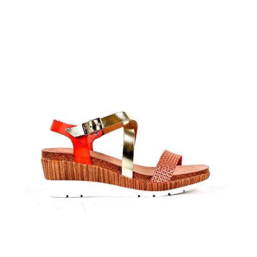Sandalia piel coral-multi. Tiras cruzada