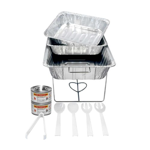 Serving Tray Kit (Party Essentials Buffet Party Banquet Serving Set with Chafing Rack, 11-Piece)