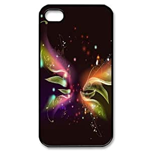DANGDANG Colorful Butterfly Shell Phone for iphone4 Black Cover Phone Case [Pattern-5]