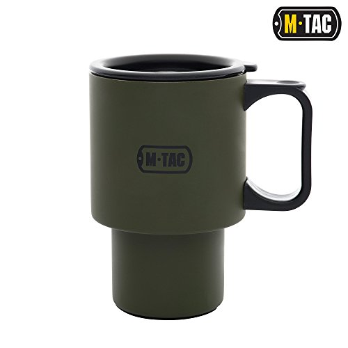 M-Tac Coffee Car Mug with Lid Military Steel Travel Cup Plastic Handle 15 Oz (Mug Travel Army)