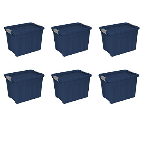 Sterilite 16867406 18 Gallon/68 Liter Ultra Tote, True Blue Lid & Base w/ Titanium Latches, 6-Pack