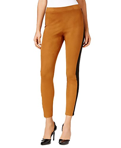 Ny Collection Ponte Inset Faux Suede Leggings  Large  Mocon