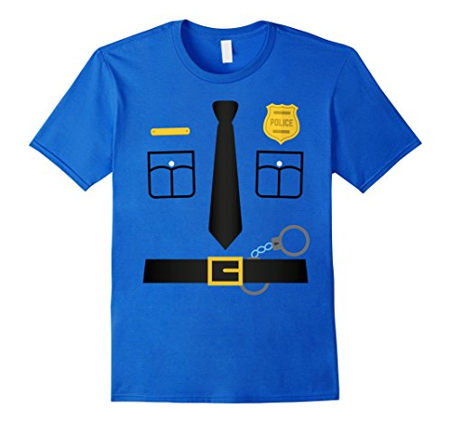Men's Police Uniform Costume Halloween T-Shirt - Kids to Adult Large Royal Blue