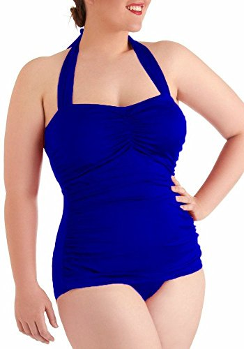 Women's Plus One Piece Swimsuit Halter Tummy Control Swimwear Swimsuit Sapphire US XL