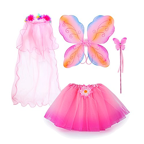 Fairy Costume, Sinuo Costume Set With Wings,Tutu,Wand and Veil Princess Set Fit Girls Age 3-8(Pink) ()