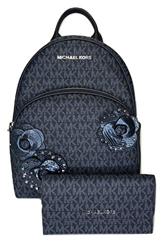 Abbey Messenger - MICHAEL Michael Kors Abbey MD Backpack bundled with Michael Kors Jet Set Travel Trifold Wallet (Signature MK Admiral)