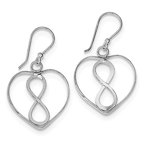 Solid 925 Sterling Silver Open Heart with Infinity Symbol Dangle Earrings (20mm x (20mm Open Heart Ring)