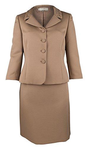 Tahari Women's Textured Rhinestone Skirt Suit-M-10