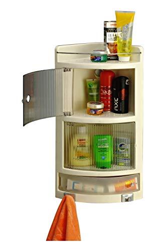 Cipla plast Wall Mounted Multipurpose Bathroom Cabinet with Double Door Shelf Organizer  Crystal Corner Ivory