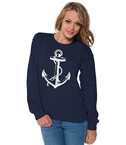 Awkwardstyles Women's Anchor White Crewneck Sea Marine Sweatshirt + Bookmark L Navy ()