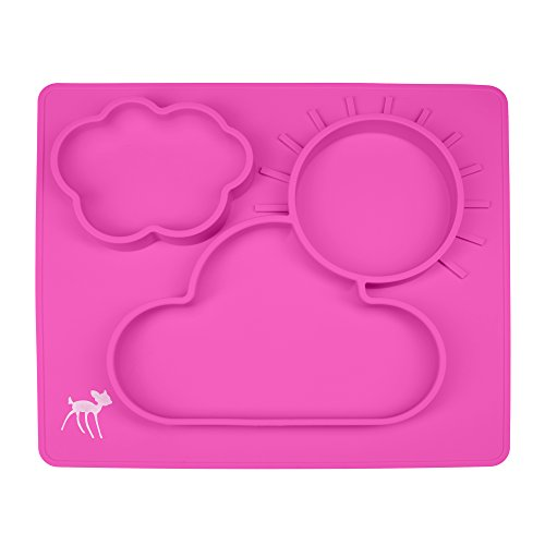 Silicone Placemat for Babies, Toddlers and Kids, Dinner Dish, 100% Food Grade Silicon, BPA Free, Dishwasher Safe, Non-Slip, One-Piece Baby Feeding Mat with 3 Compartments, Pink by osho