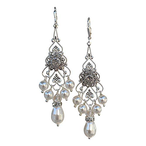 (HisJewelsCreations Bridal Crystal and Simulated Pearl Chandelier Earrings with Crystal from Swarovski (Leverback))