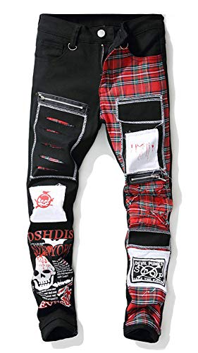 Allonly Men's Plaid Patchwork Destroyed Skull Printed Slim Fit Straight Leg Ripped Jeans Pants with Zippers and Holes Patches ()